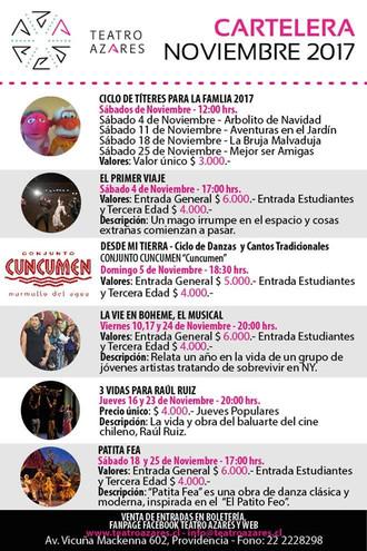 Cartelera de Noviembre 2017 en Teatro Azares