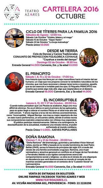 Cartelera Octubre Teatro Azares