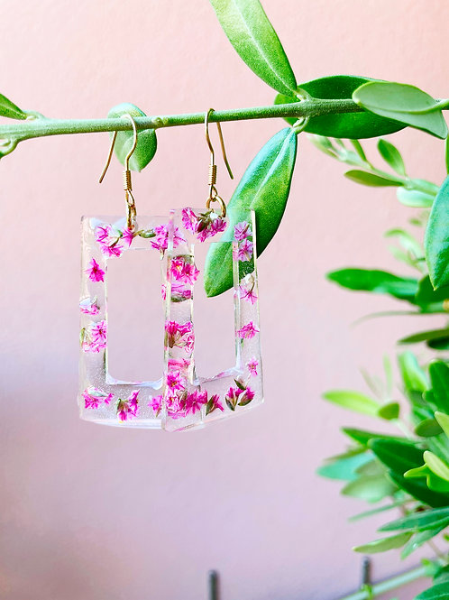Orecchini con limonium rosa - disponibile con montatura in argento 925