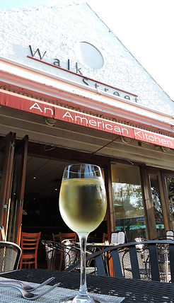 White wine in front of restaurant