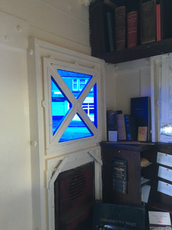 The blue glazing from inside