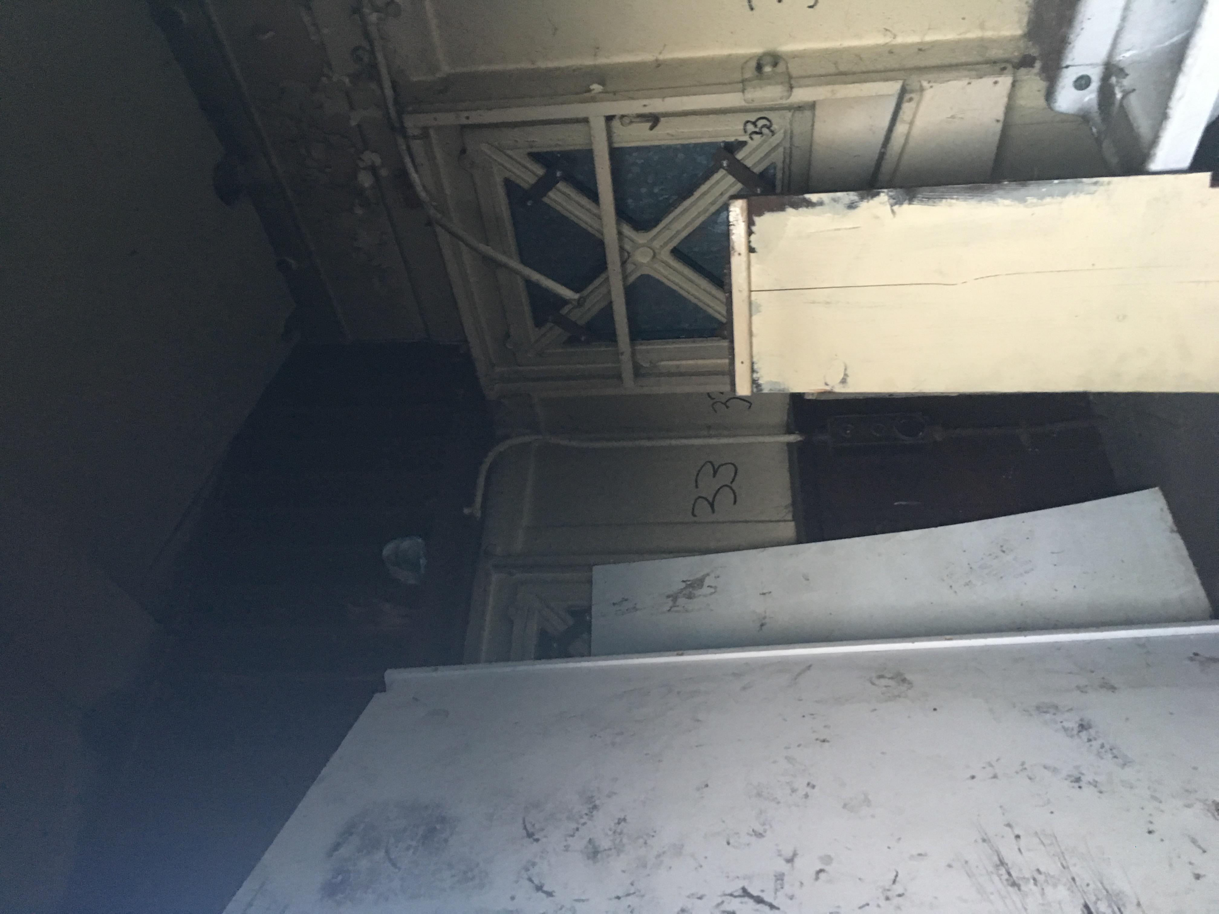 Interior view showing scrap wood