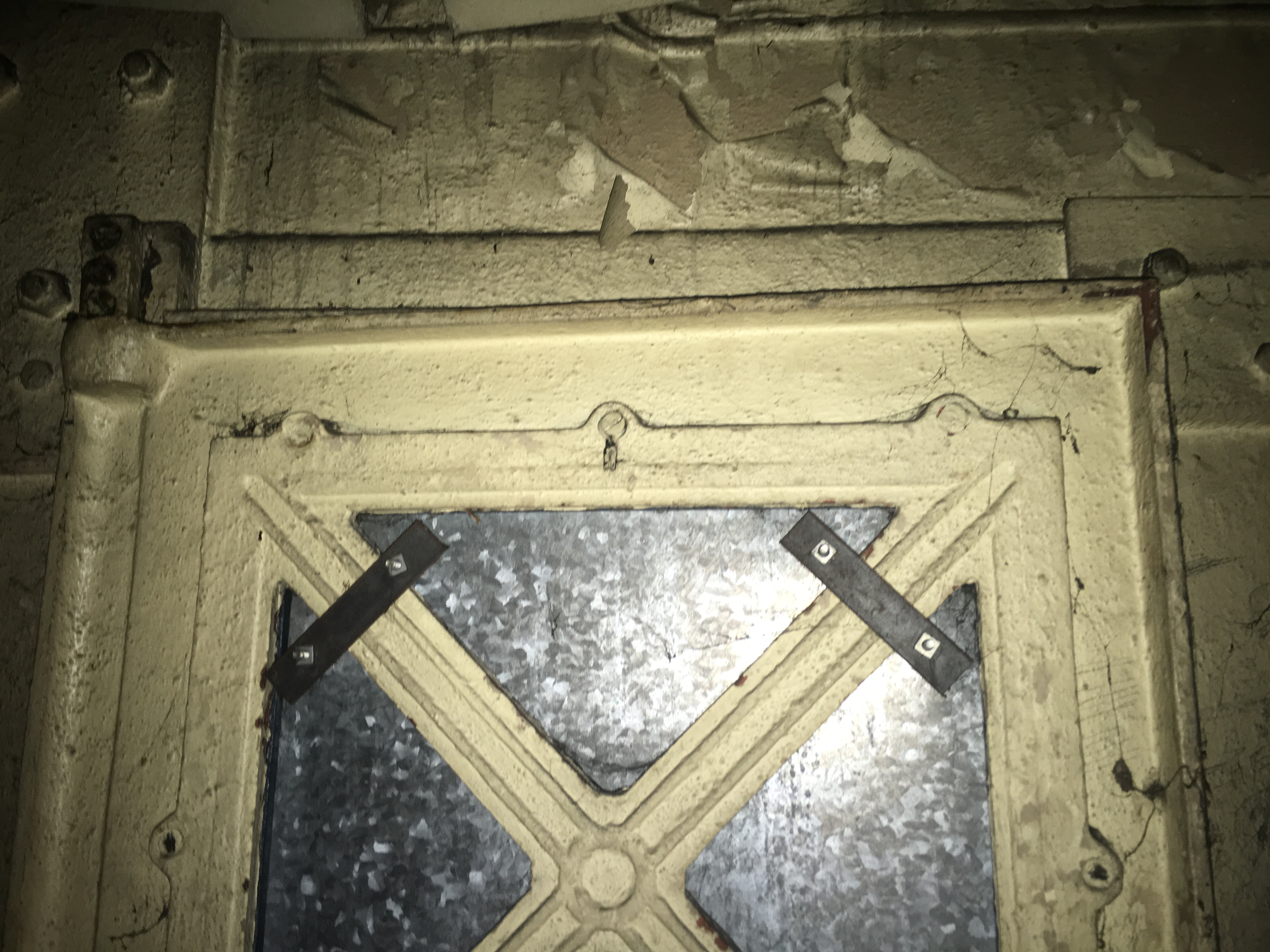 Window covered by steel plate