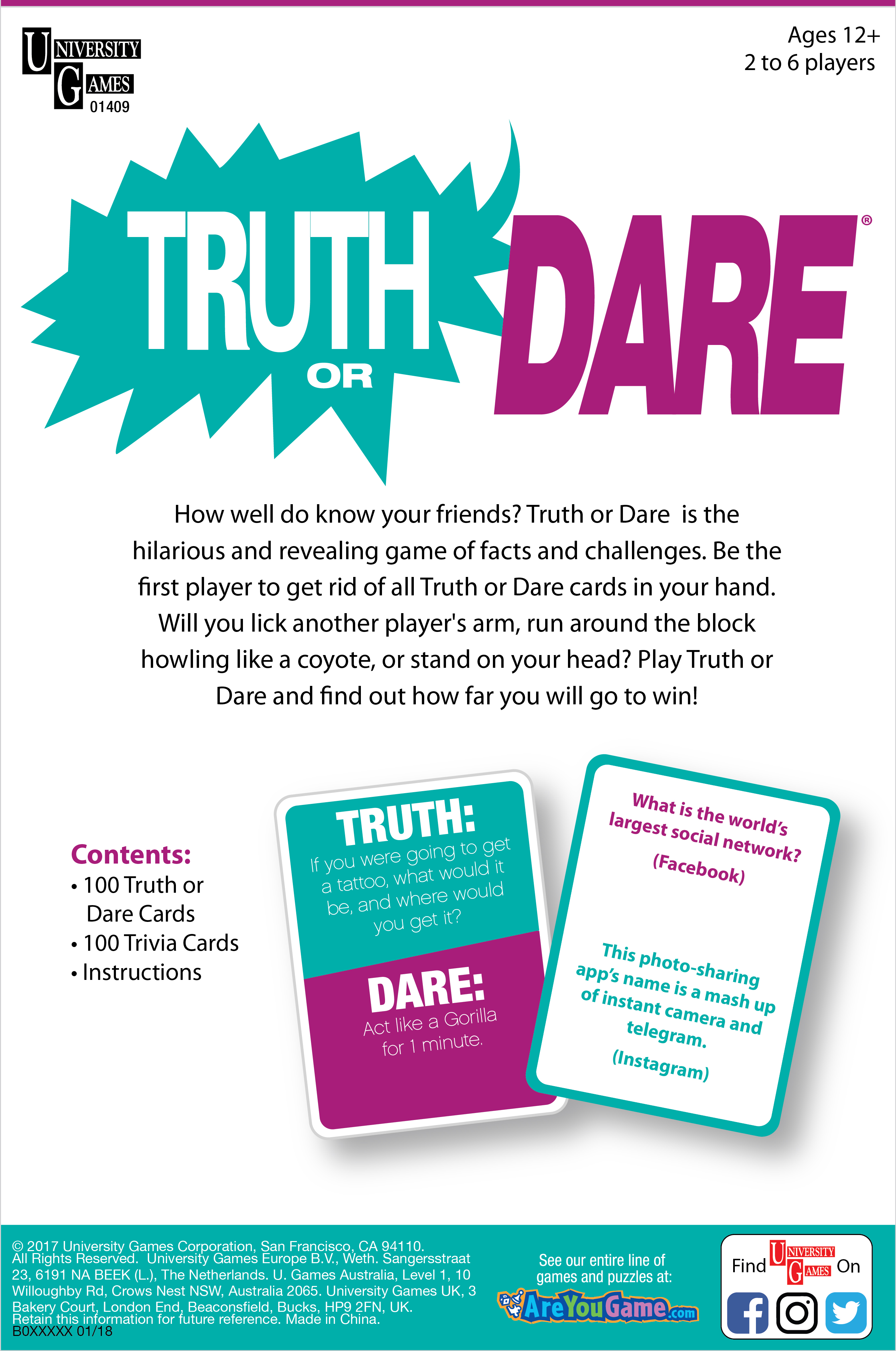 Truth Or Dare back of package