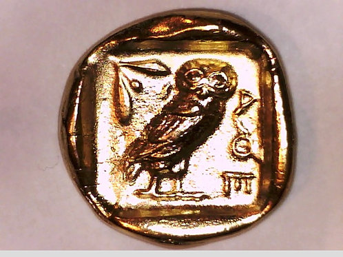 24K Gold Plated Attica Athens Athena / Owl coin