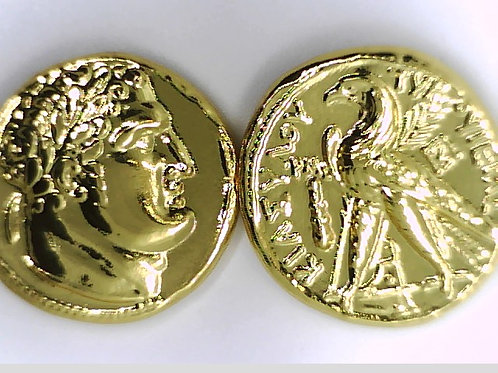 Collection of the 30 Silver pieces of Judas in 24K real Gold plating.