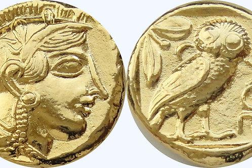 24K Gold Plated Attica Athens Athena / Owl coin