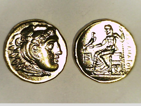 24K Gold Plated Alexander Drachm Magnesia coin