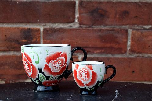 Red and Black Peony Mugs