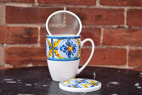 Italian Tile Mug with Strainer and Cover