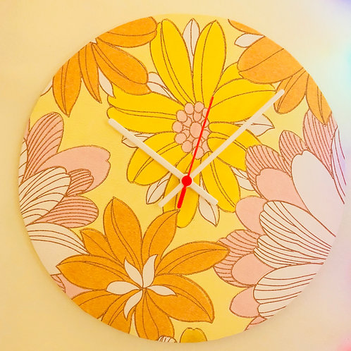 70's wallpaper covered wall clock