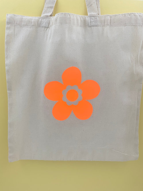 Large Neon Flower tote