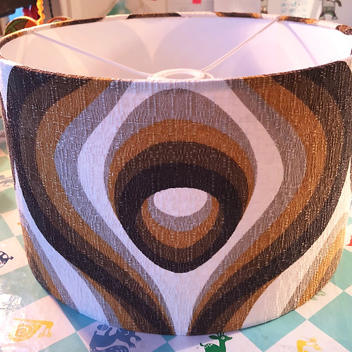 70's Barkcloth covered shade 30cm