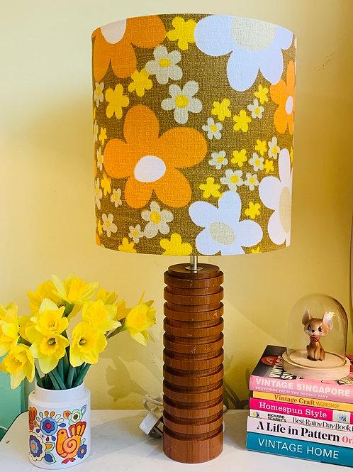 Large Vintage Teak Lamp