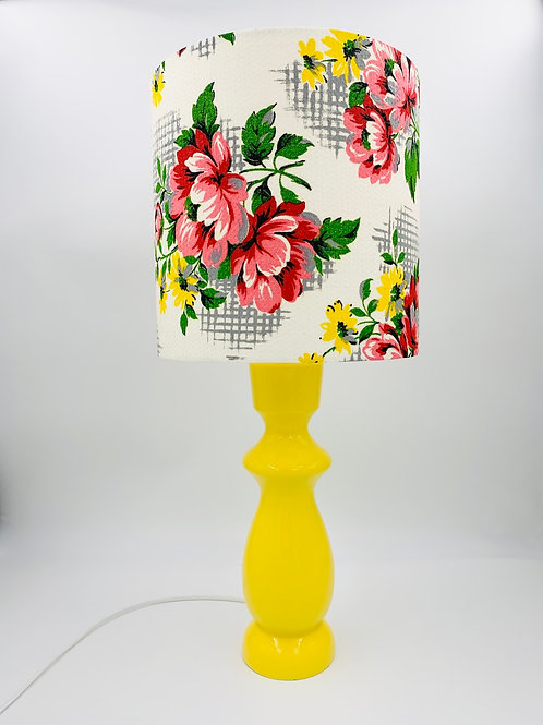 Wooden Lamp & 50s Fabric Shade