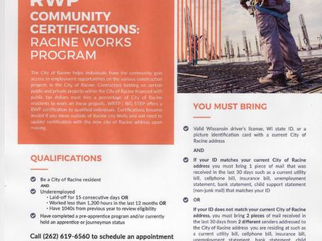 WRTP/BIG STEP - Community Certifications - Racine Works Program