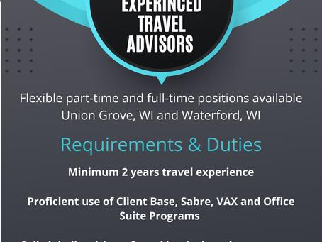 Bon Voyage - World Travel Experts is Hiring Experienced Travel Advisors!!