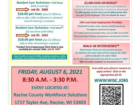Southern Wisconsin Center is Having a HIRING EVENT! Friday, August 6th - 8:30-3:30pm