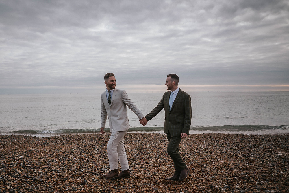 gay wedding on Brighton beach