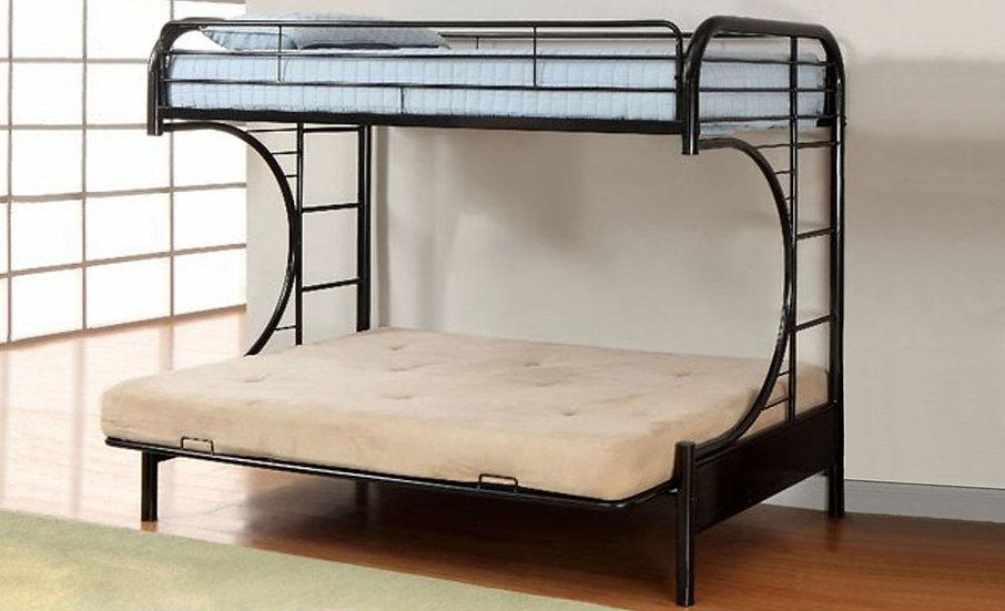 Metal Futon Bunk Bed Frame | Black