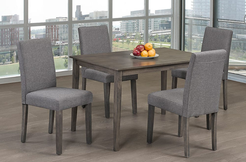 5 Piece Wooden & Fabric Upholstered Dining Set ~ Grey