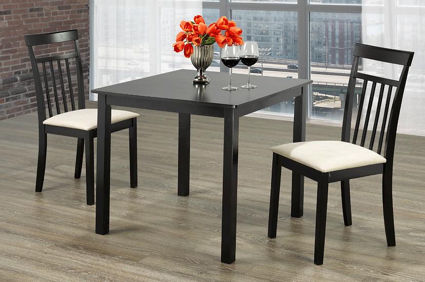 3 Piece Wood Upholstered Dining Set ~ Espresso