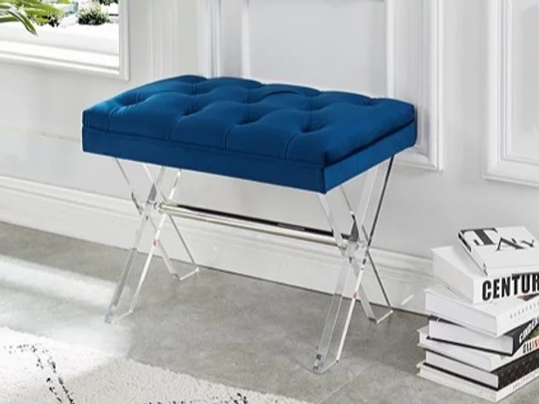 Velvet Fabric Bench ~ Blue