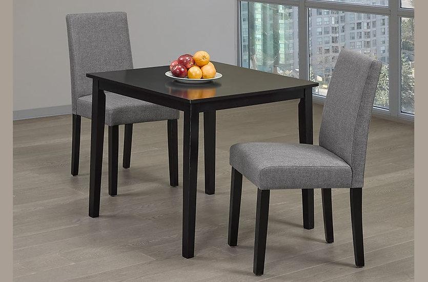 3 Piece Wood Upholstered Dining Set ~ Espresso/Grey