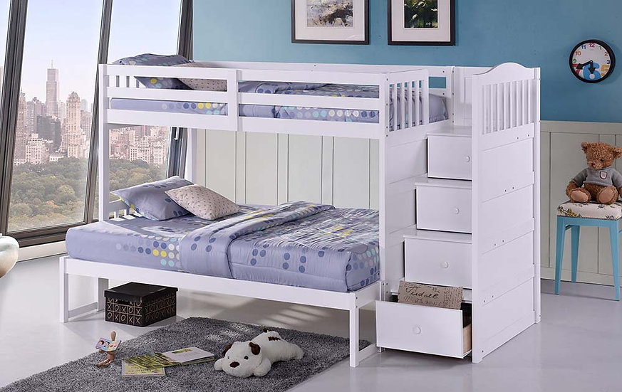 Twin Over Full Bunk Bed with Storage | White
