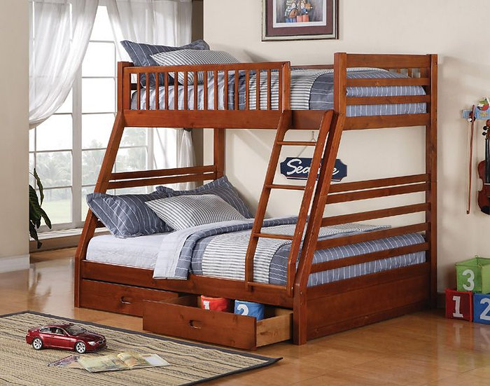 Twin over Full Bunk Bed with Storage Drawers   Honey