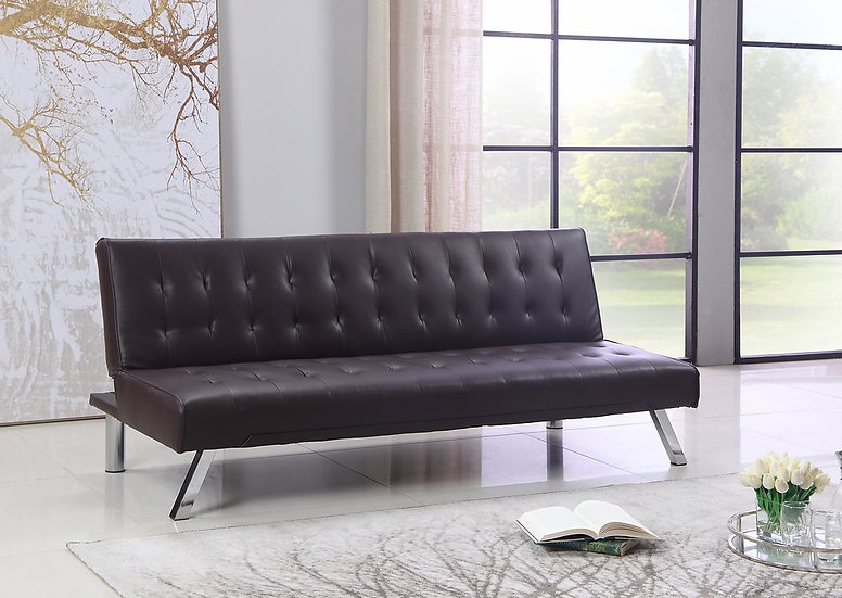 Leatherette Sofa Bed  ~ Brown