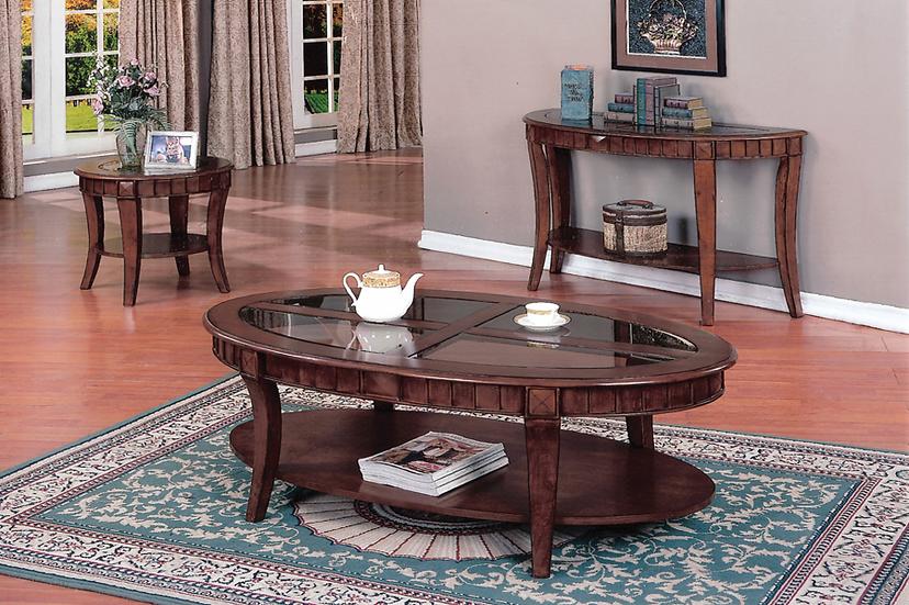 3 Piece Coffee Table Set Wooden - Walnut