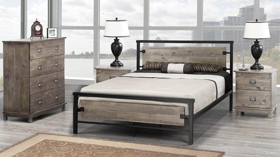 Grey Platform Bedroom Set - Wooden & Metal