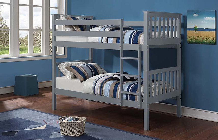Wooden Twin Bunk Bed | Grey