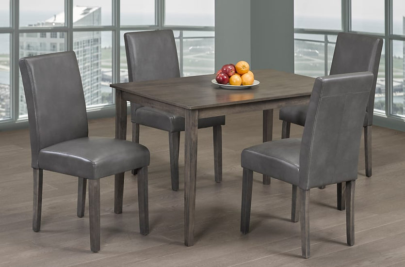 5 Piece Wooden Upholstered Dining Set ~ Grey