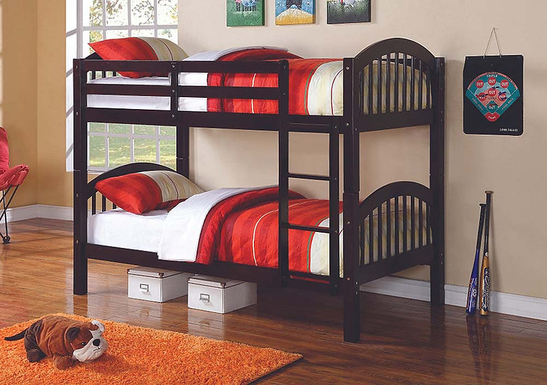 Twin over Twin Bunk Bed with Ladder   Espresso