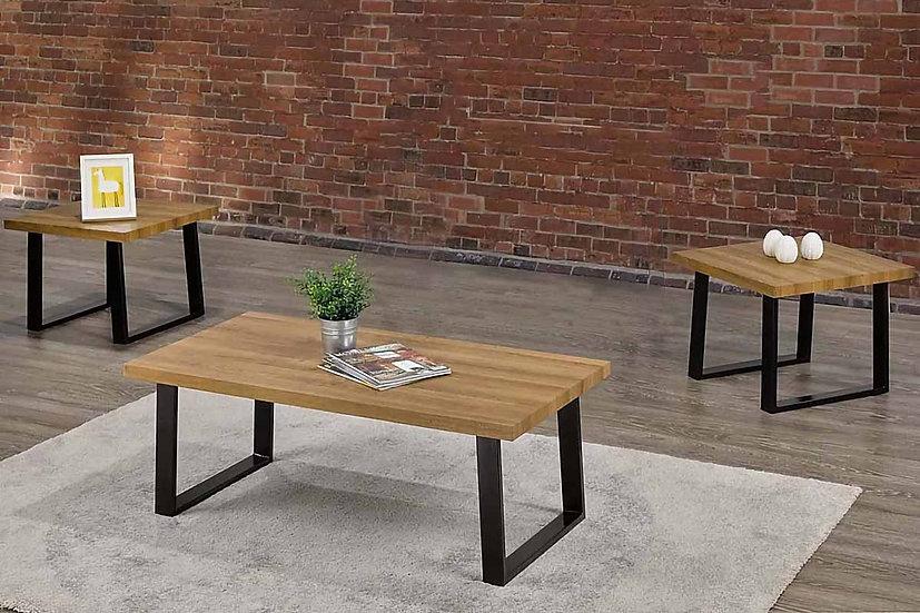 3 Piece Wooden & Metal Coffee Set