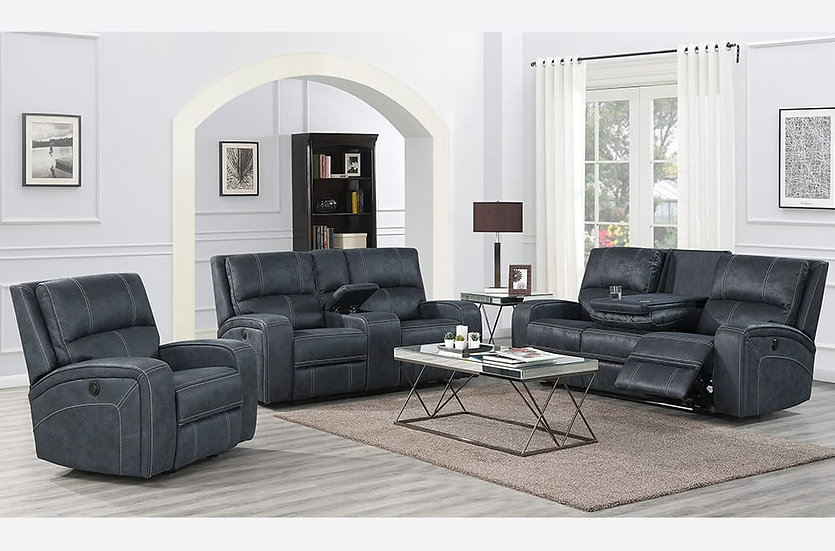 3 Piece Storage Power Recliner Sofa Set ~ Grey