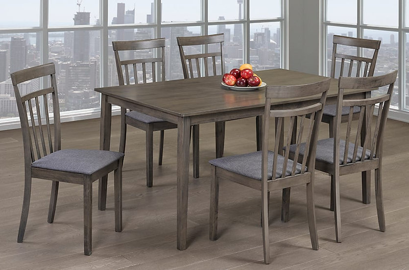 7 Piece Wood & Fabric Upholstered Dining Set ~ Grey