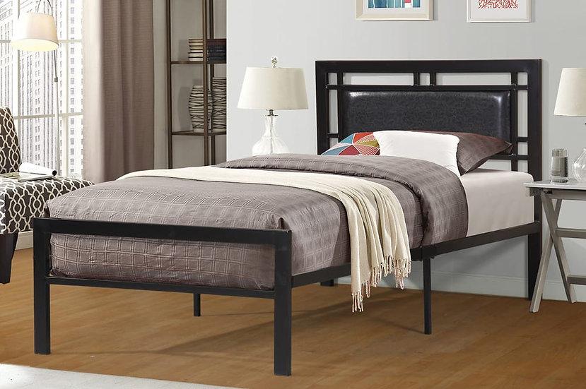 Metal & Lettherette Platform Bed ~ Black