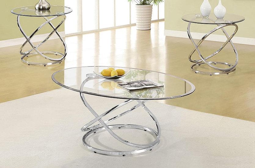 3 Piece Coffee Table Set Glass & Metal ~ Chrome