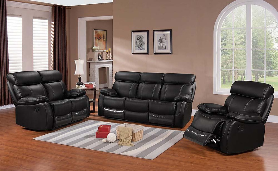 3 Piece Recliner Sofa Set ~ Black