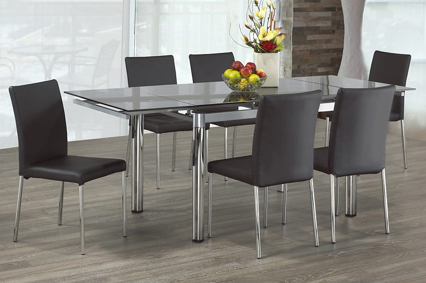 Extendable Glass Dining Table Set