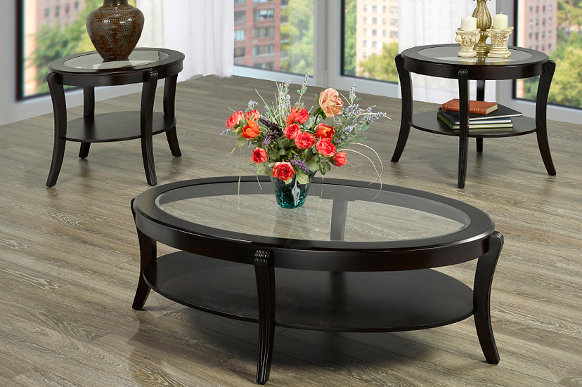 Coffee Table Set Glass & Wooden