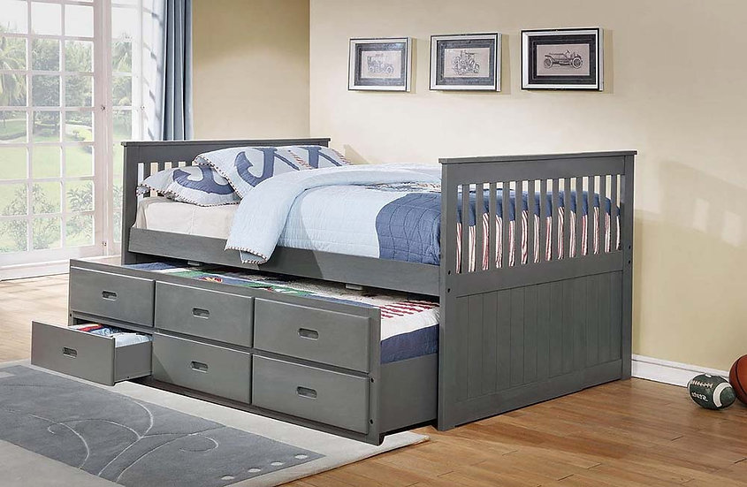 Wooden Storage Drawers Trundle Bed ~ Grey