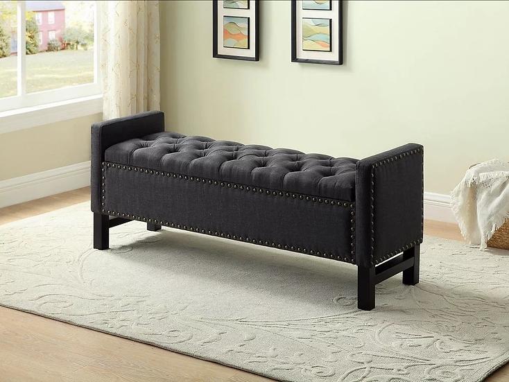 Velvet Fabric Storage Bench ~  Charcoal