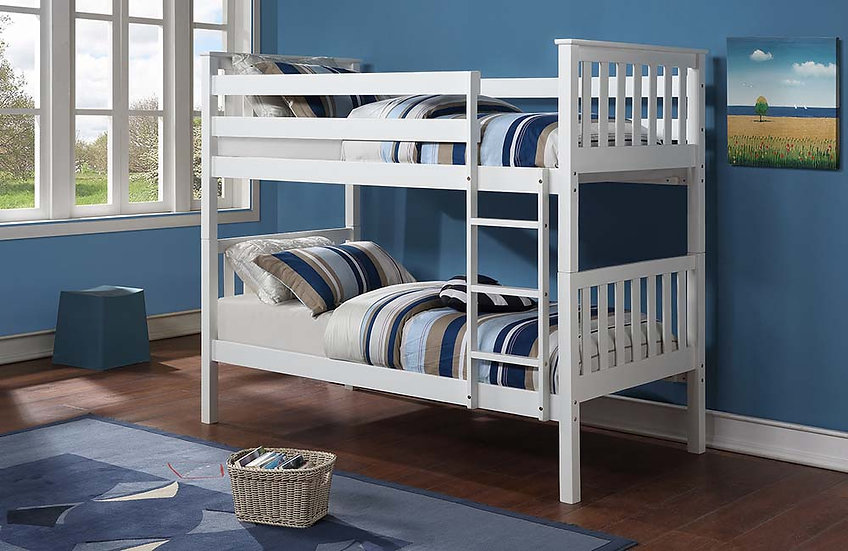 Wooden Twin Bunk Bed | White