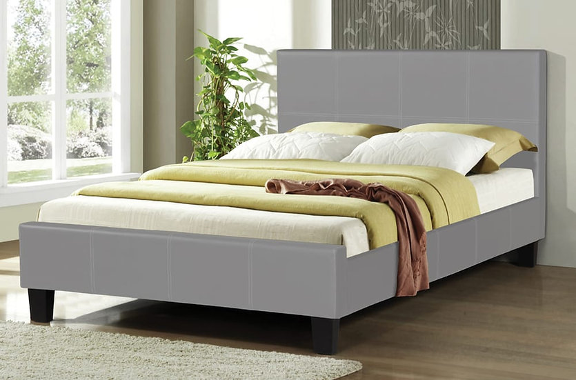 Leatherette Platform Bed ~ Grey