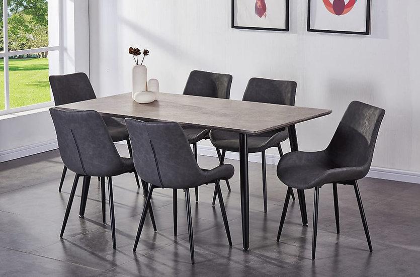 7 Piece Dining Table Set - Grey