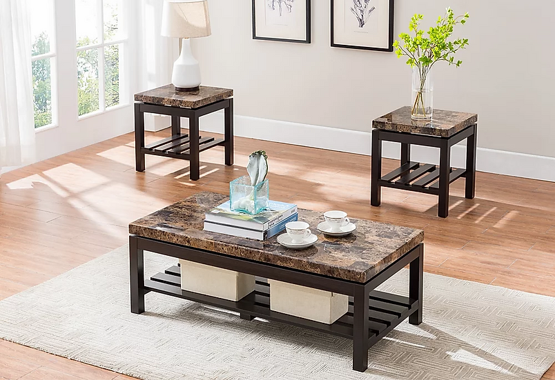 3 Piece Faux Marble Top Coffee Table Set ~ Light Brown